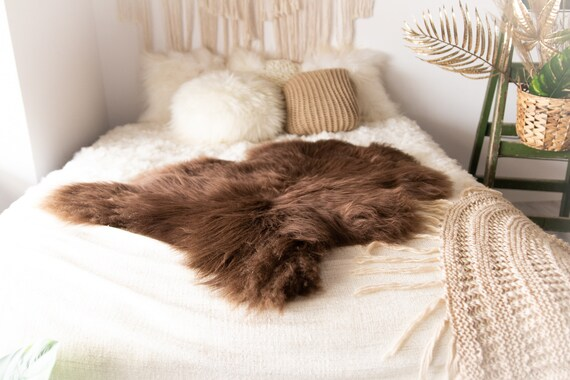 Real Icelandic Sheepskin Rug Scandinavian Decor Sofa Sheepskin throw Chair Cover Natural Sheep Skin Rugs Brown Blanket Fur Rug #Bohgot0