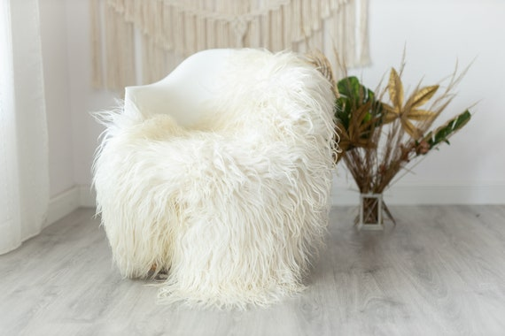 Real Sheepskin Rug Genuine Rare Mongolian Sheepskin Rus - Curly Fur Rug Scandinavian Sheep skin - Ivory Beige Curly Sheepskin #Krecisl9