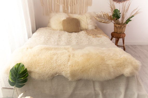 Double Sheepskin Rug | Long rug | Shaggy Rug | Chair Cover | Runner Rug | Ivory Rug  | Beige Sheepskin