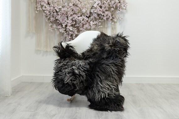 Real Icelandic Sheepskin Rug Scandinavian Decor Sofa Sheepskin throw Chair Cover Natural Sheep Skin Rugs Gray Black #Iceland188