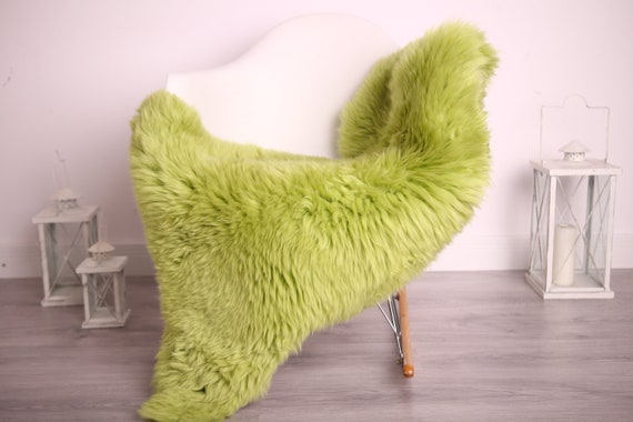 Real Sheepskin Rug Shaggy Rug Chair Cover Sheepskin Throw Sheep Skin Green Sheepskin Home Decor Rugs #9her9