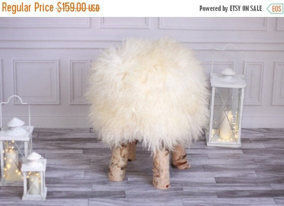 ON SALE Sheepskin stool | Birch Tree Stool | Wood Stool | Fur Stool | Dressing Stool | Wooden Stool | Scandinavian Stool