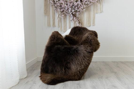 Real Sheepskin Rug Shaggy Rug Chair Cover Scandinavian Home Sheepskin Throw Sheep Skin Brown Sheepskin Home Decor Rugs #herdwik215