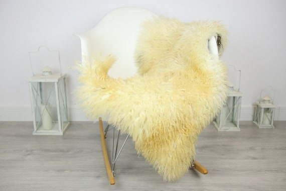 Genuine Rare Tuscan Lamb Sheepskin Rug - Curly Fur Rug - Natural Sheepskin - Ivory Sheepskin | Small Sheepskin #3MARGOT5