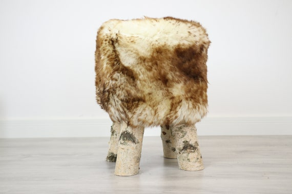 Wood Stool |  Fur Stool | Sheepskin pouf |Sheepskin stool | Vanity Stool | Birch tree stool | red fur stool