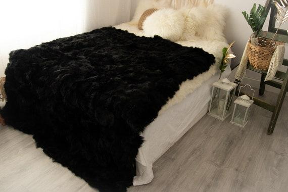 Luxurious Toscana Sheepskin Real Fur Throw | Real Fur Blanket | Sheepskin throw | Black Throw