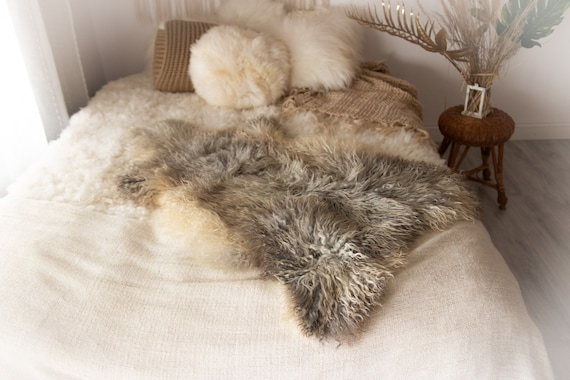 Real Sheepskin Rug Genuine Rare Gotland Sheepskin Rus - Curly Fur Rug Scandinavian Sheep skin - Gray Ivory Sheepskin #KWAGOT8
