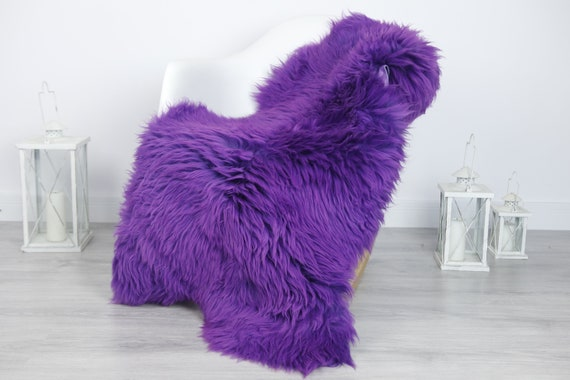 Real Sheepskin Rug Shaggy Rug Chair Cover Sheepskin Throw Sheep Skin Purple Sheepskin Home Decor Rugs #7her12