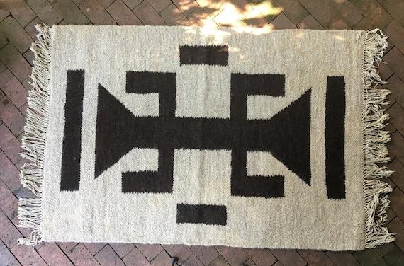 60 X 44 Vintage Wool Swaziland Handwoven Area Rug Etsy