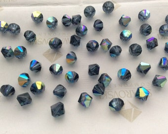 Swarovski #5301 Crystal Montana Blue AB Bicone Faceted Beads 4mm 5mm 6mm