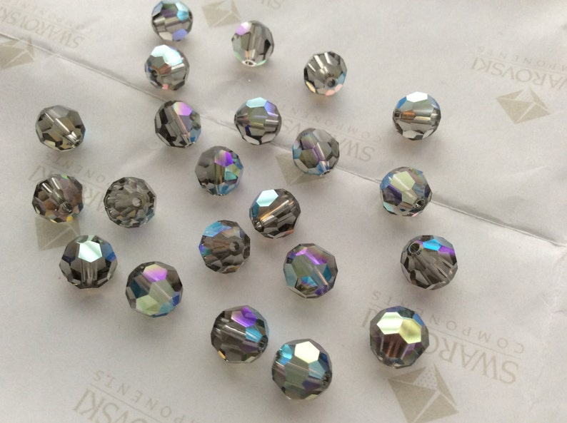 b854c5970 24 pieces Swarovski 5000 8mm Crystal Black Diamond AB Round | Etsy