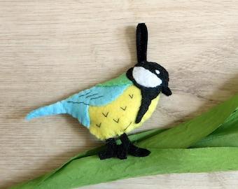 Felt chickadee, bird to hang, handmade, country style ornament