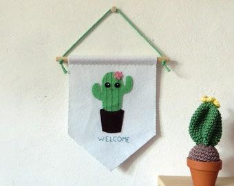 Kawaii cactus pennant, welcome sign, entryway wall decoration, felt, handmade, housewarming gift