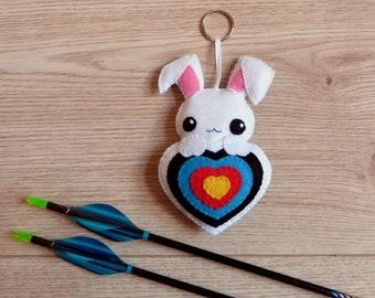 Archery quiver ornament, kawaii rabbit plush, in an archery target, in felt, handmade