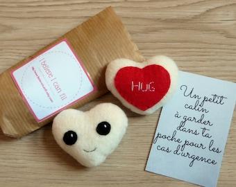 "Pocket hug, small gift for women, polar fleece heart plush, with hug embroidery, ""thinking of you"" gift"