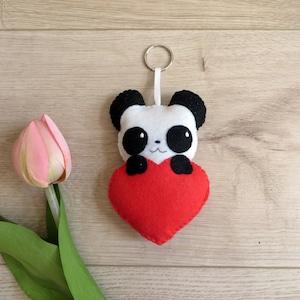 panda plush in a ball Soccer gift handmade gift for her in felt