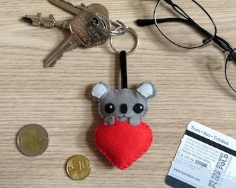 Koala keychain, kawaii plush, in felt, handmade, love gift