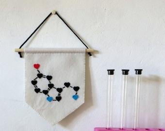 Serotonine chemical formula, molecule pennant, science theme decor, in felt, handmade, gift for scientist