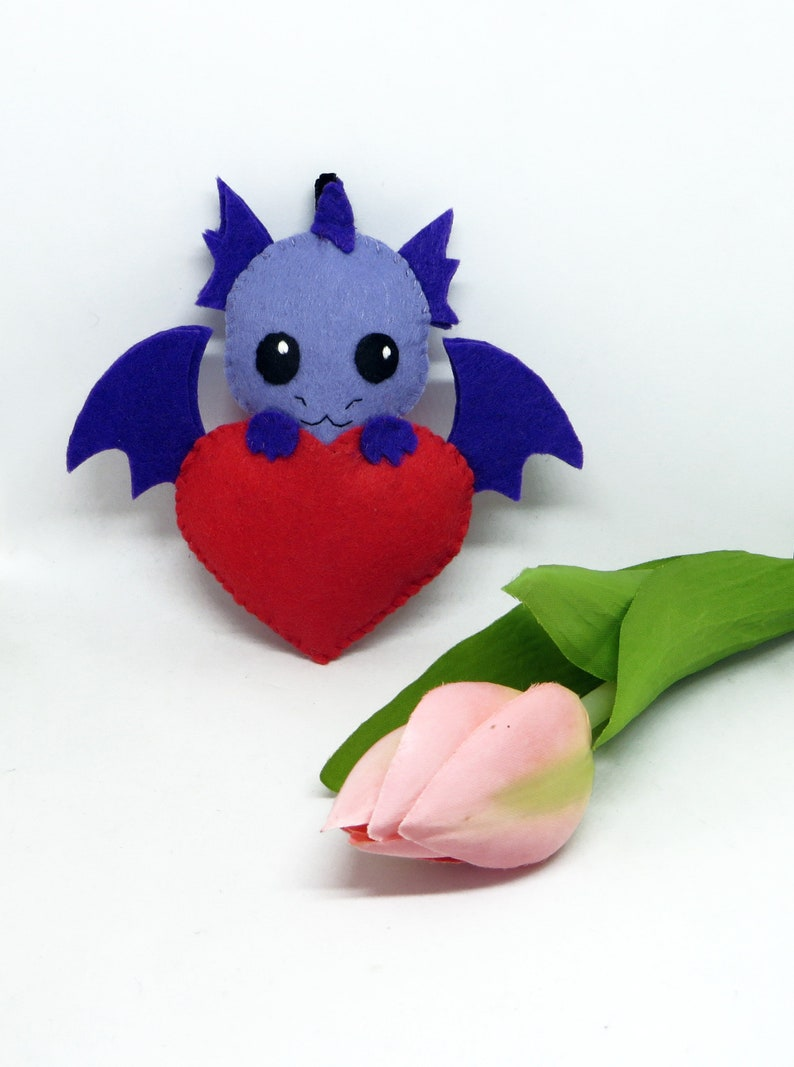 Dragon plush in a red heart in felt handmade image 0
