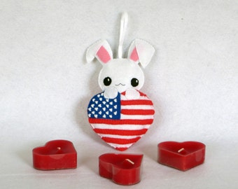 Rabbit, USA charms, kawaii rabbit, united states, independence day, door hanger, united states flag, 4th of july decor, rabbit decoration