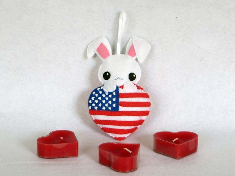 4 july charm rabbit plush in an American flag in shape of image 0