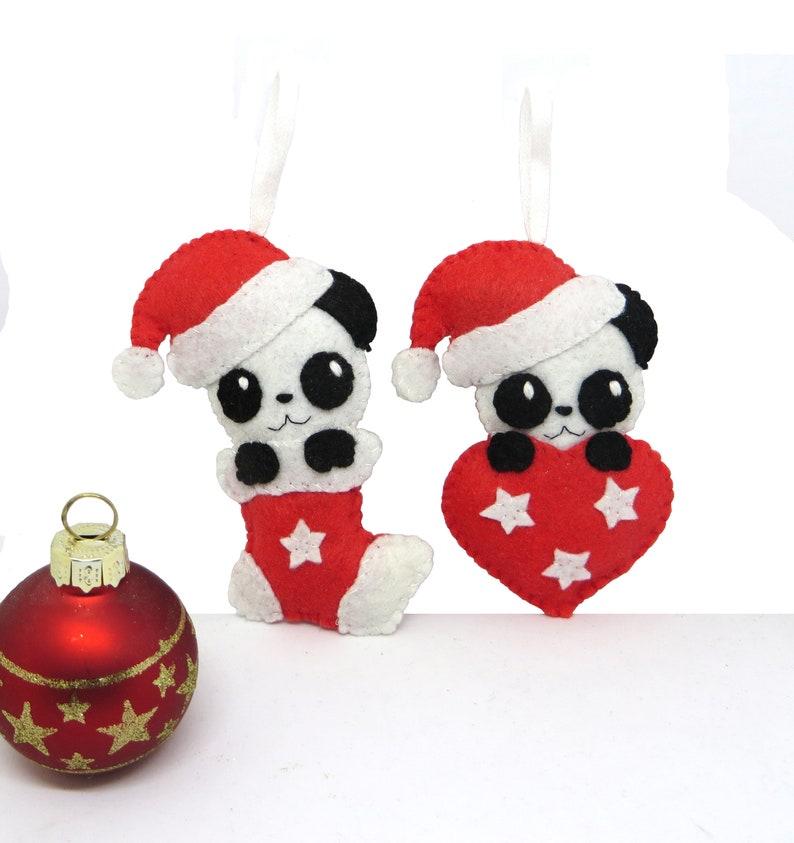 Christmas panda bears ornament in felt handmade image 0