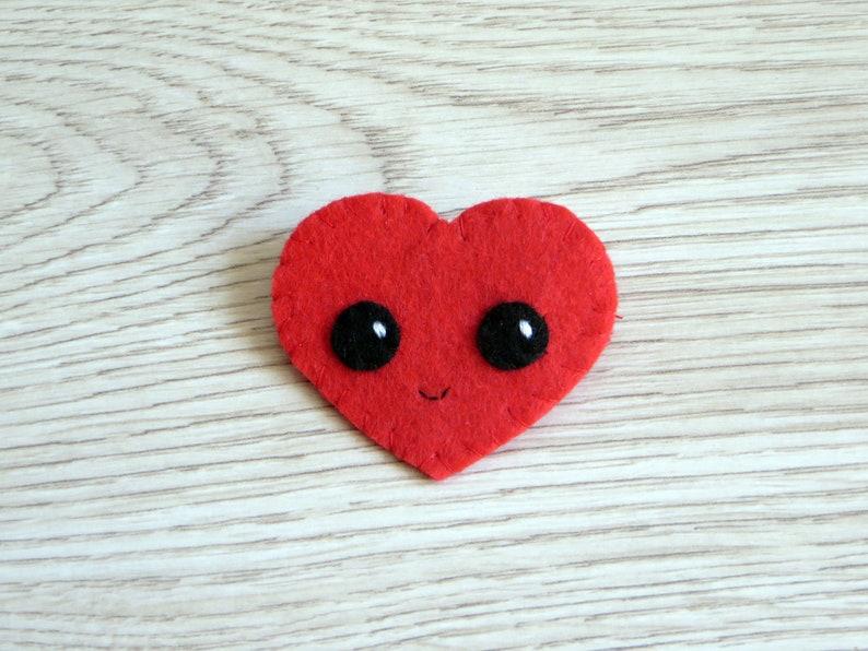 Felt brooch kawaii heart small gift for lovers cute image 0