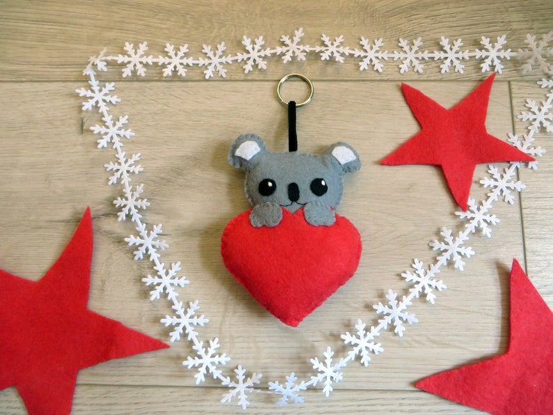 Koala plush in a heart in felt handmade small Christmas image 0