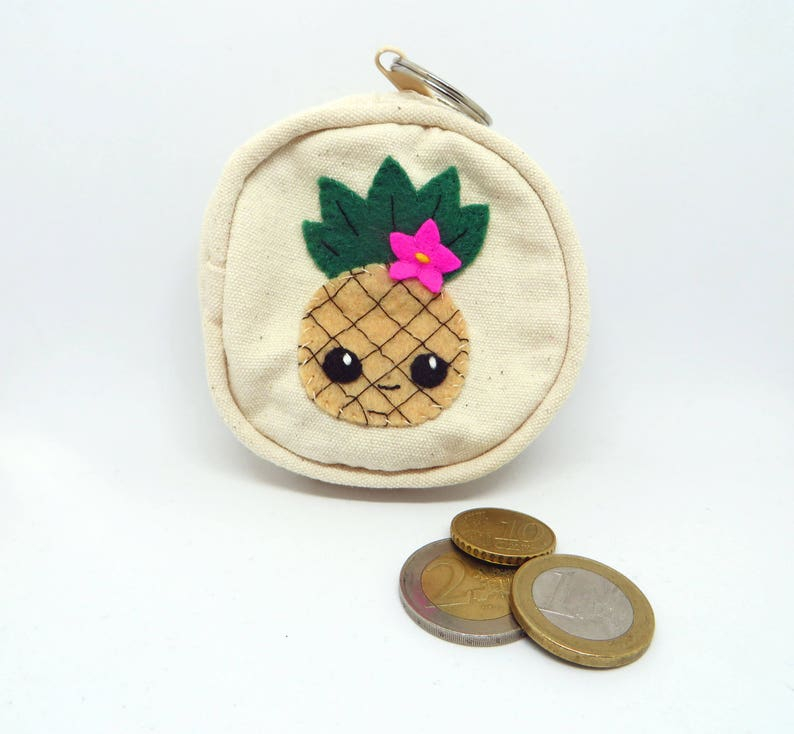 Pineapple coin purse zipper in cotton and felt handmade image 0