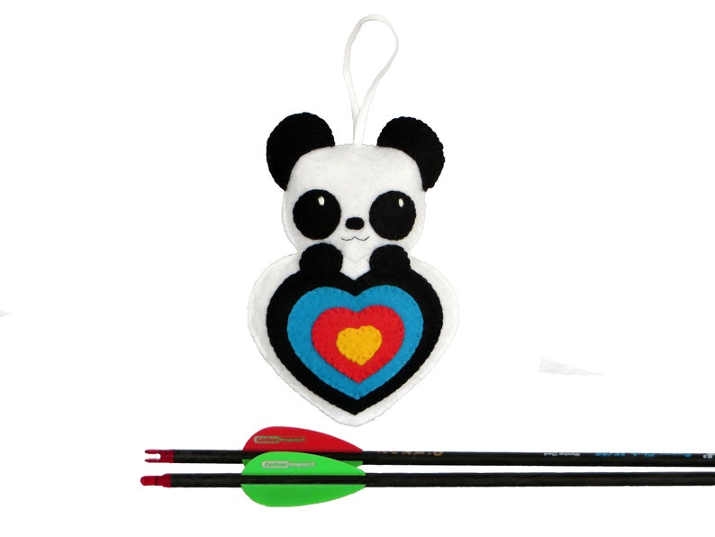 Archery gift panda plush in an archery target in shape of image 0