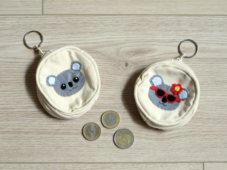 Koala coin purse cute in cotton and felt handmade kids image 0