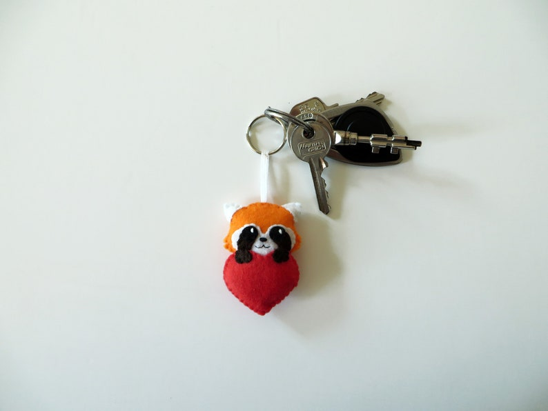 Red panda keychain kawaii in a red heart in felt handmade image 0