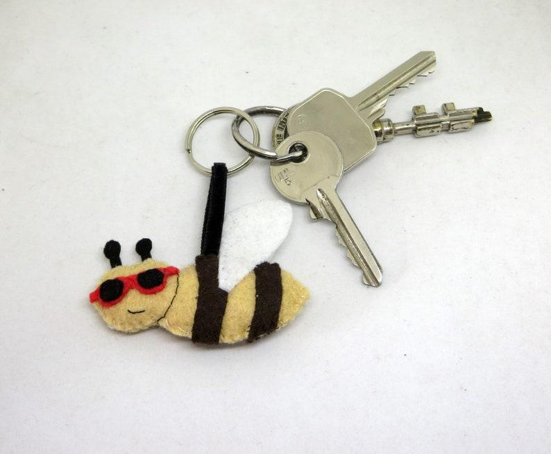 Bee keychain kawaii in felt handmade summer theme gift image 0