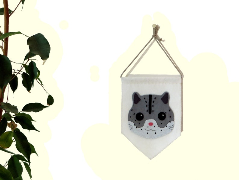 Snow leopard banner baby nursery decor in felt handmade image 0