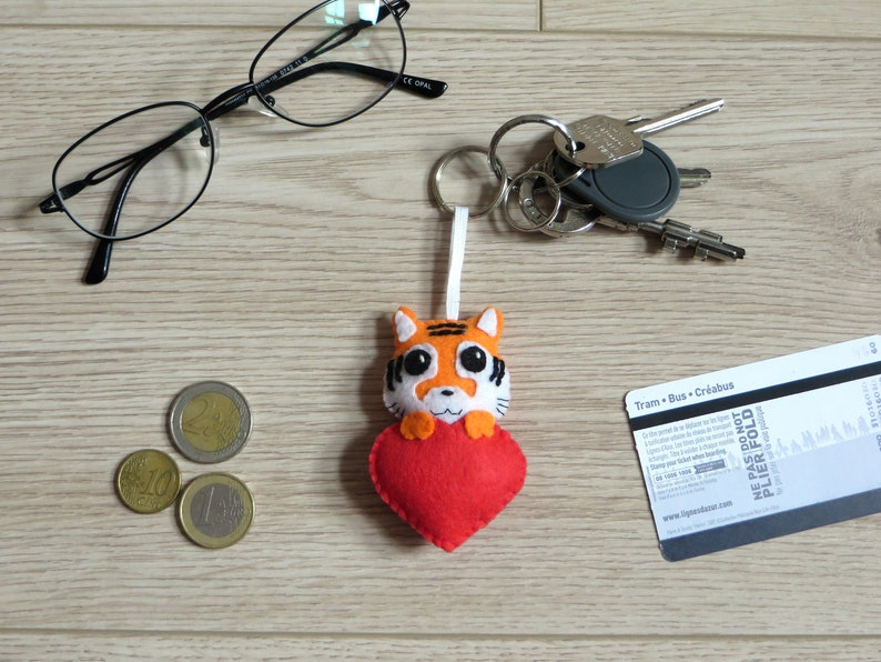 Tiger keychain mothers day gift cute charm red heart in image 0