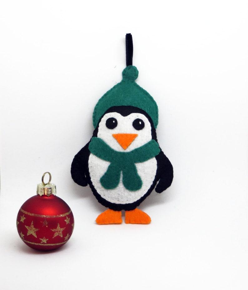 Felt penguin Christmas tree decoration to hang image 0