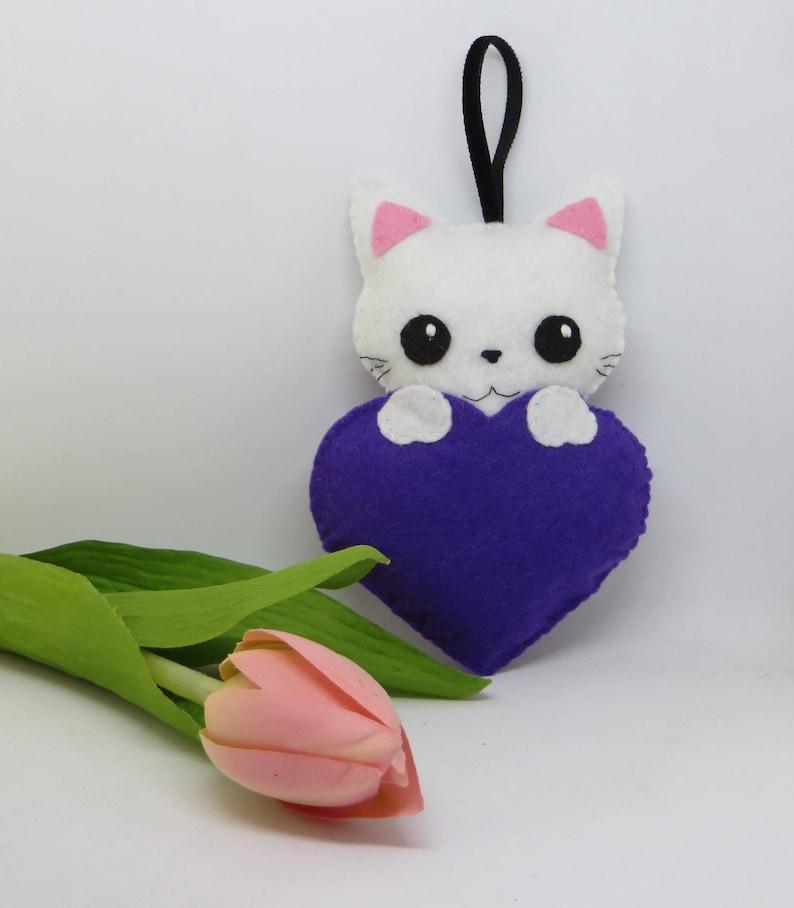 Felt cat mothers day gift stuffed animal womens gift cute  a95ba3fa72