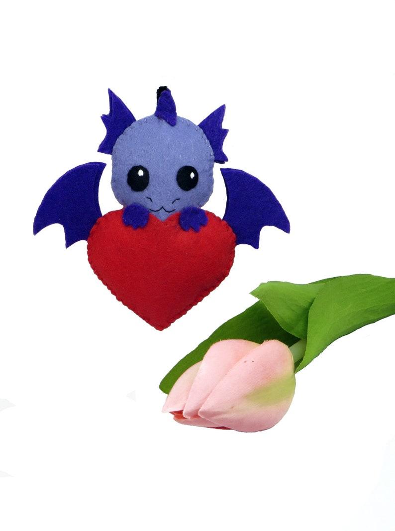 Dragon plush in a red heart in felt handmade fantasy lover image 0