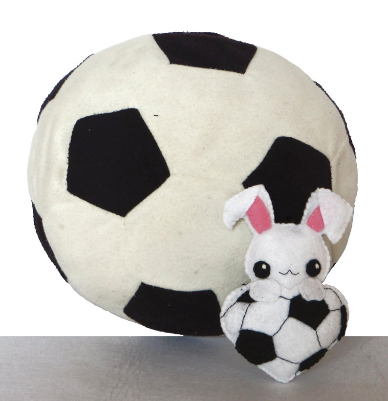 Soccer ornament cute rabbit in a soccer ball in felt image 0