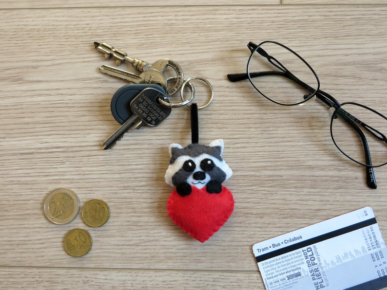 Valentine's day gift raccoon keychain in a heart gift image 0