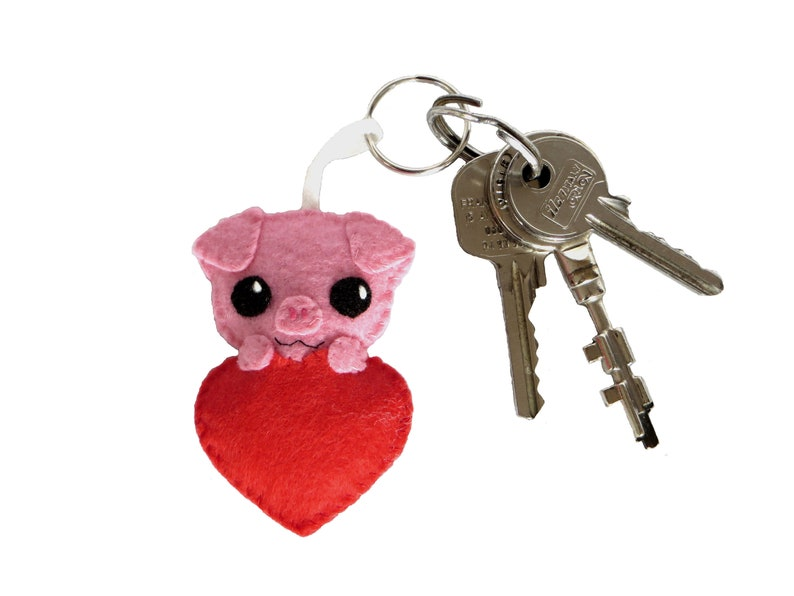 Pig keychain gift for her cute in a heart in felt image 0
