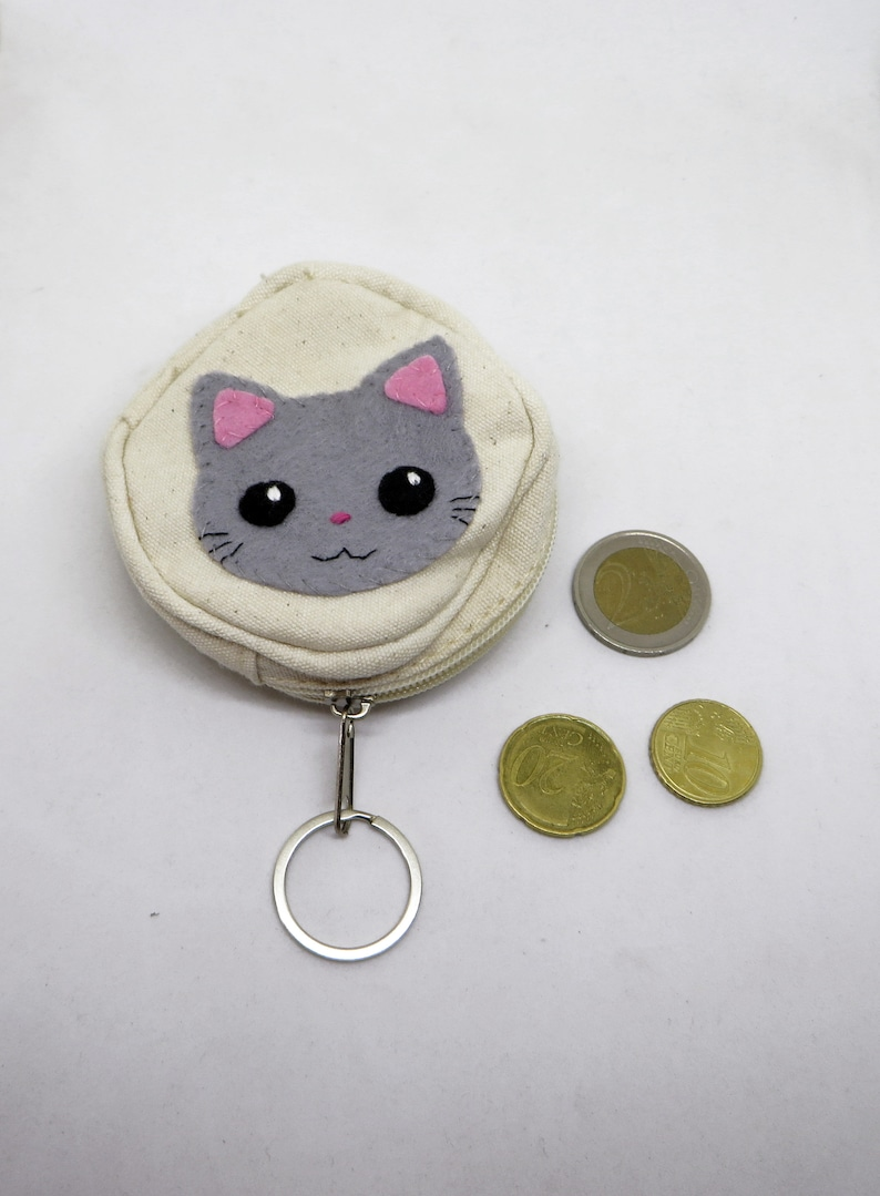 Grey kawaii cat coin purse in cotton and felt for kids image 0