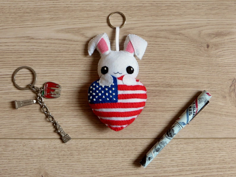 4th of july decor flag day ornament rabbit plush in an image 0