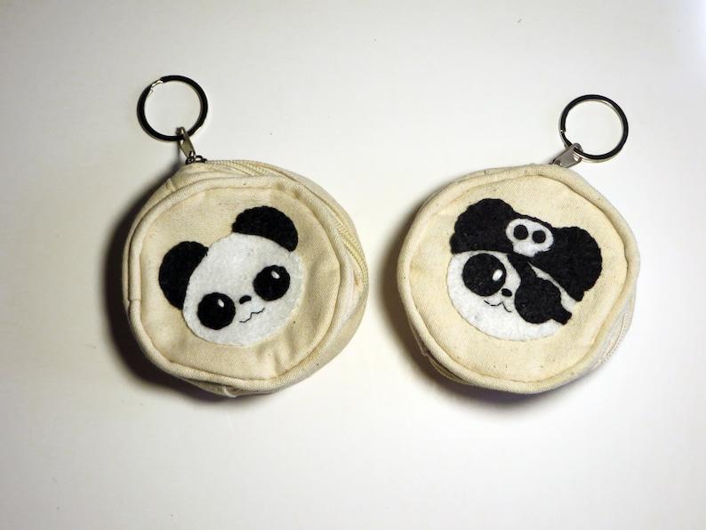 Panda coin purse zipper kawaii in cotton and felt handmade image 0