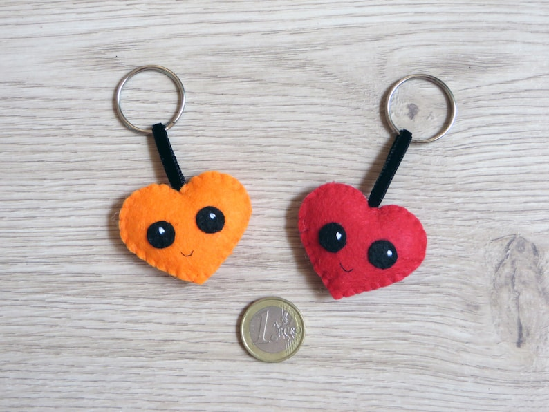 Felt keychain kawaii heart small gift for lovers cute image 0