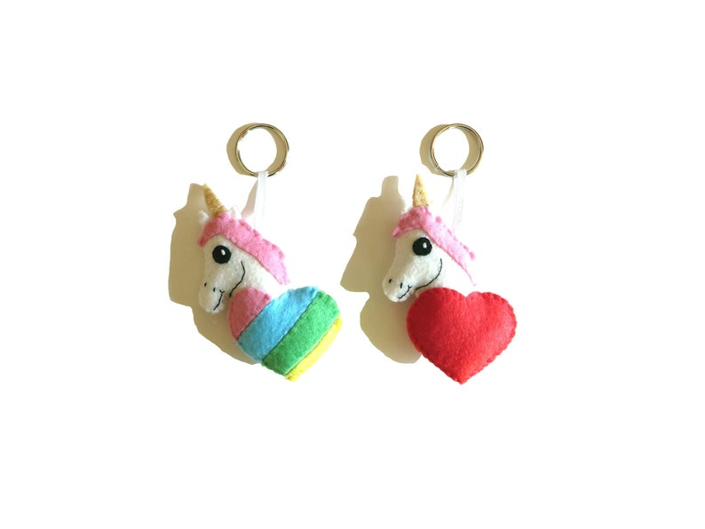 Unicorn keychain kawaii in a heart in felt handmade gift image 0