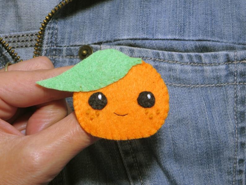 Clementine brooch kawaii fruit in felt handmade little image 0