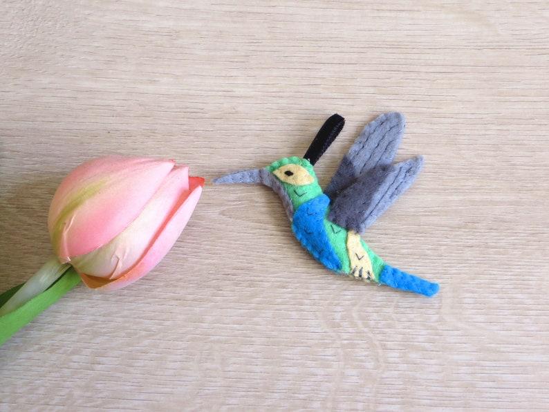 Hummingbird felt bird handmade small gift for mothers day image 0