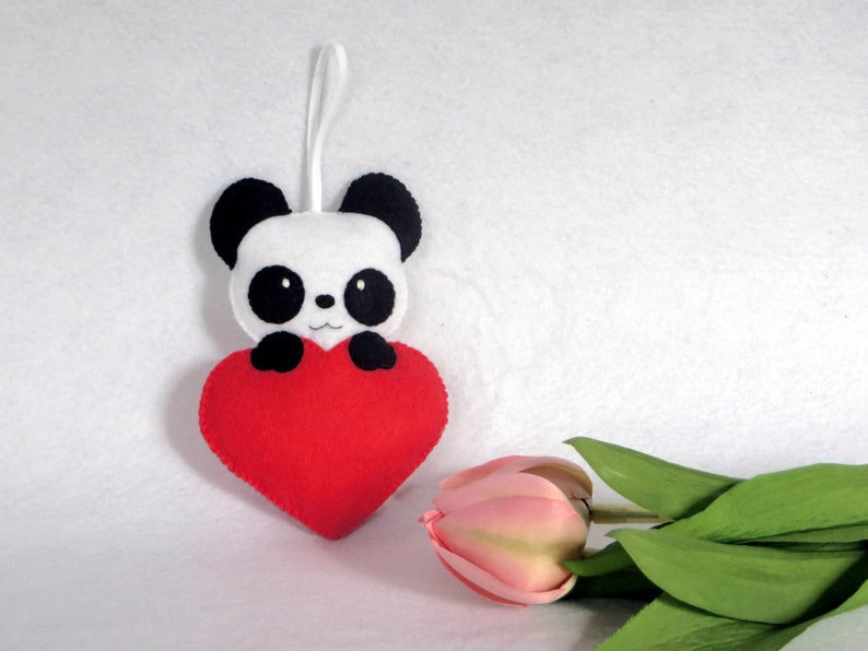 Panda plush in a heart in felt to hang handmade image 0