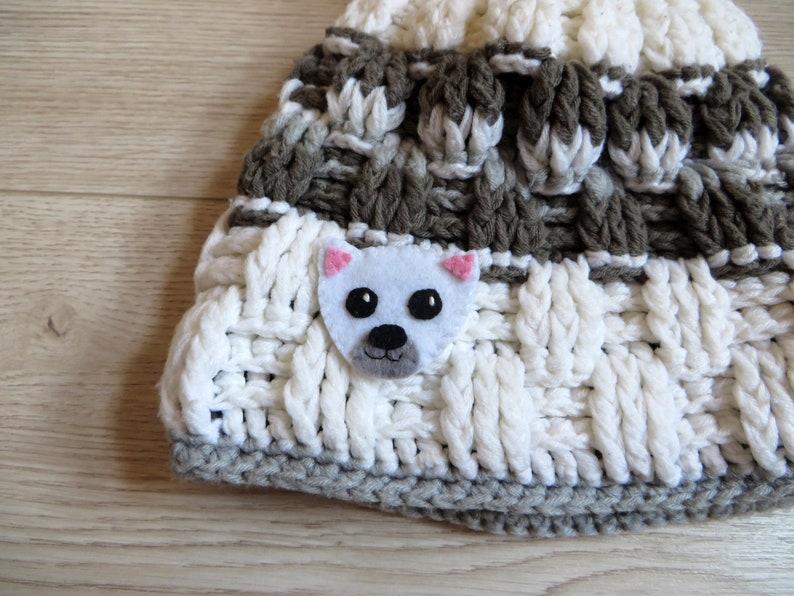Polar bear brooch gift for kids cute in felt handmade image 0